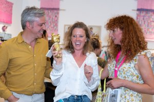 Sticks receiving the Pirouette One To Watch Award at Playtime New York, summer 2019